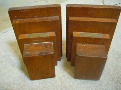 Antique teak wooden book ends from H.M.S. Terrible. 1890- 1910