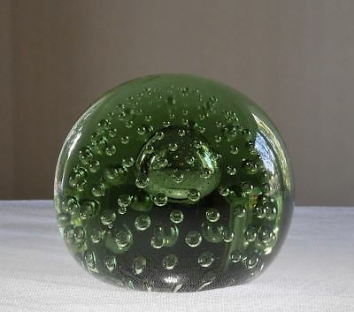 Whitefriars Controlled Bubble Art Glass Paperweight Green