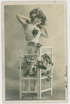 Pretty young lady / girl postcard, 1905 postmark