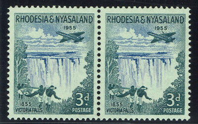Rhodesia & Nyasaland 1955 3d Wing Flaw with normal SG16 / SG16a MNH