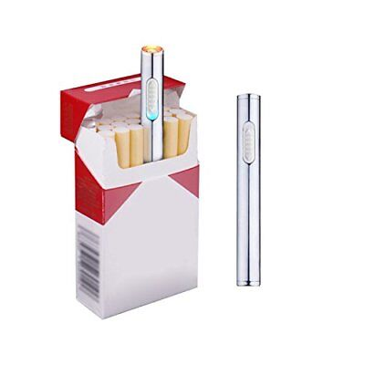 Electric Windproof Flameless Lighter USB Cigarette Plasma Rechargeable Silver