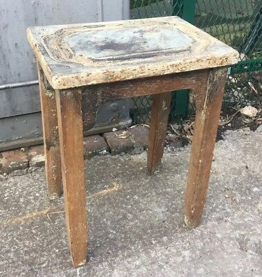 Antique Industrial Shabby Chic Vintage Lab School Stool Solid Oak