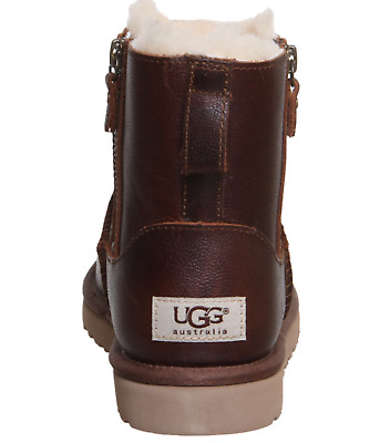 Ugg-Classic-Mini-Double-Zip-Leather-Womens Brown  Boots Uk Size 6