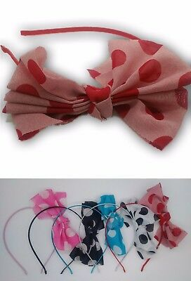 12x New Girls Hair Bands Assorted Colours Polka Dots Bows Bulk Buy Clearance