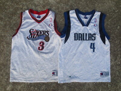 Lot 2 maillot basket DALLAS FINLEY SIXERS IVERSON shirt NBA enfant 14 16 ans