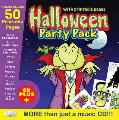 Kids HALLOWEEN Party CD. 50 printable pages of activities, masks, games!  *NEW*