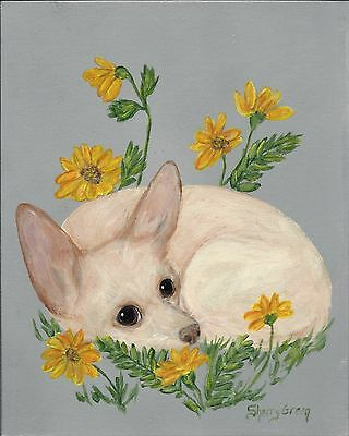 Chihuahua Dog & yellow flowers original puppy painting 8x10 canvas panel