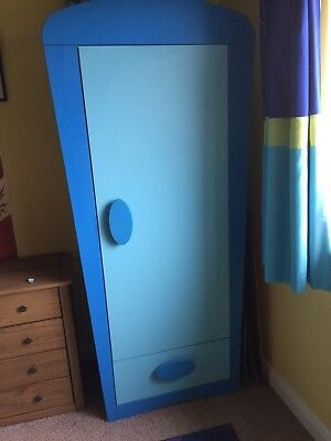 Blue Ikea Mammut Wardrobe and Bedside Table