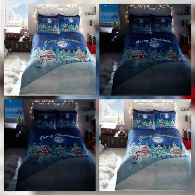 Bedlam Glow In The Dark Merry Christmas xmas Bedding Duvet Cover Set