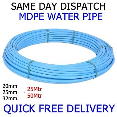 Blue MDPE Plastic Mains Water Pipe 20mm 25mm 32mm x 25mtr 50mtr WRAS APPROVED