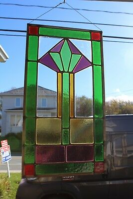 Small Hanging Arts & Crafts Antique  Leaded Glass Window With  Color Glass