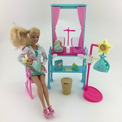 Barbie I Can Be A NEWBORN NURSERY DOCTOR Dr Doll Twin Baby Furniture Play Set