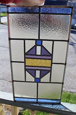 Small  Arts & Crafts Antique  Leaded Glass Window With  Color Glass