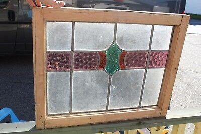 Antique  Leaded Glass Window With Wood Frame , Not Clear And Colored Glass