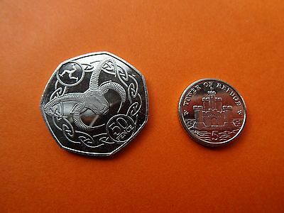 NEW coins of Isle of Man - 50 p + 5 p IOM - coins of Europe