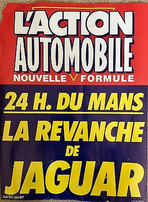 "Rare Jaguar ""L'action Automobile"" 24 hour Le Mans poster 1987."