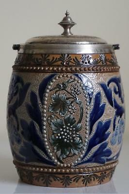 Fine Doulton Lambeth Biscuit Barrel Or Cookie Jar By Eliza S.Banks c.1881