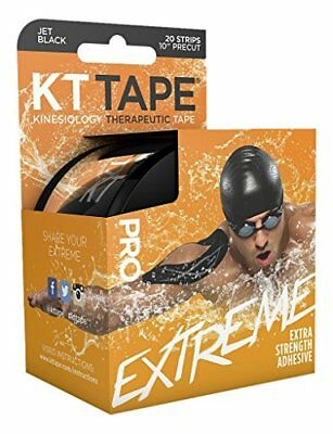 "KT TAPE Pro Extreme Therapeutic Elastic Kinesiology Tape(20 PreCut) 10"" Black"