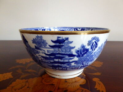 Early Blue & White Transfer Ware Pottery Bowl With Chinoiserie Design ~ 1840