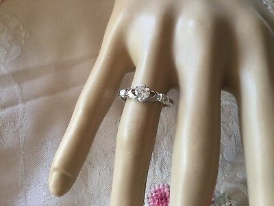 Antique Vintage Sterling Silver Claddagh Ring size 7 or O Sapphire White Heart
