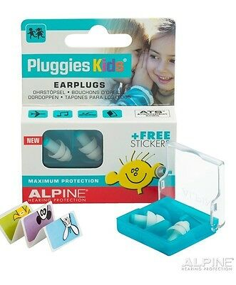 ALPINE Pluggies Kids EARPLUGS, NO.1 Music Safe Childs Hearing Protection - White