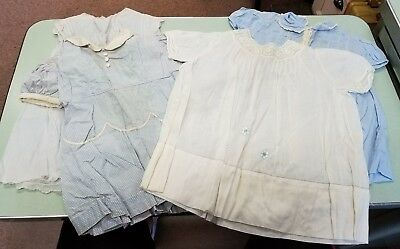 Antique Vintage Baby Dresses - Blue - Hand Embroidered - lot of 4