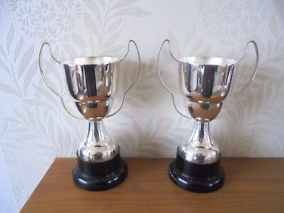 Matching Pair of Art Deco Silver Plated  Twin Handled Trophies