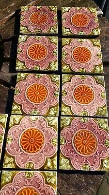 18 Genuine Victorian Fireplace / Hearth Tiles in Green, Pink and Amber