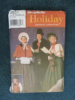 Sewing Pattern:simplicity 4851 Victorian Carol Singers. Steampunk. Size Xs-Xl