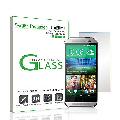 HTC One M8 amFilm Premium Real Tempered Glass Screen Protector (1 Pack)