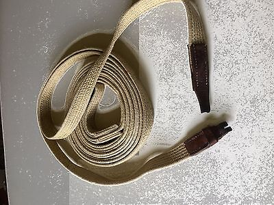 "COTTON WEBBING TRAINING REINS 200"" long  V GD COND but needs new buckle"