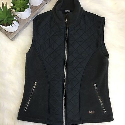 Post Card Women's Gray Quilted Vest Made in Italy Outerwear Pockets Sz L M EUC