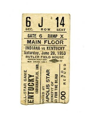 June 20, 1953 Kentucky v Indiana All Stars Basketball Ticket