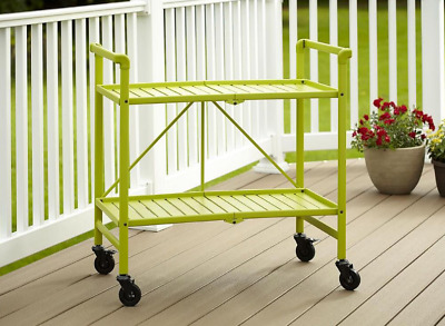 Cosco Smartfold Apple Green Indoor Outdoor Foldable Serving Cart on Wheels Green