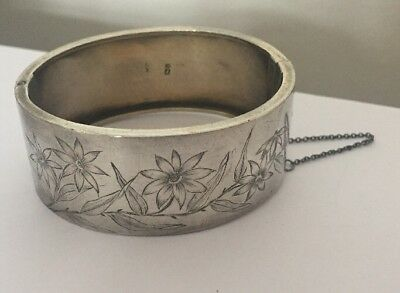 Antique Victorian Aesthetic Sterling Silver Wide Cuff Bracelet @ 1880