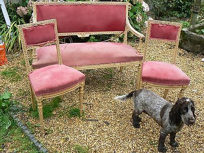 Gorgeous Original Painted French 3 Piece Salon Suite For Recovering Restoration