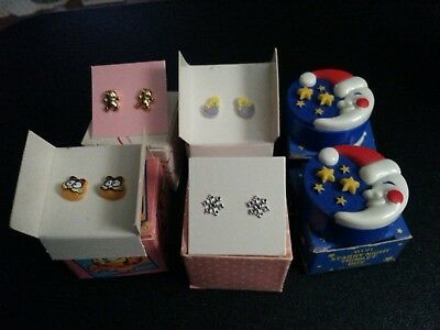 Vintage lot of 6 Avon Kids earring's in the original boxes