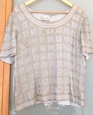 Genuine Vintage Gorgeous 1920s style Frank Usher Silver Embroidered T Circa 1980