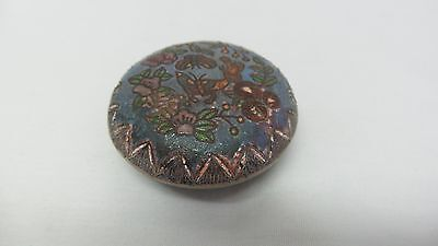 Vintage Antique Silver Silverplated Enamel Pill Box