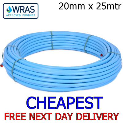20mm Blue MDPE Water Mains Poly Plastic Alkathene Pipe 25 metre 25m roll ground