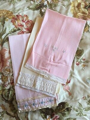 Lot of Three linen guest towels vintage