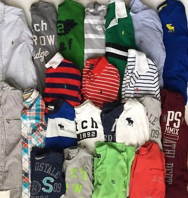 Lot of 22 Boys Abercrombie Ralph Lauren Polo Long & Short Sleeve Shirts Size S 8