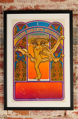 The Rolling Stones in concert original 1969 Tour Blank Poster by David Byrd-Rare