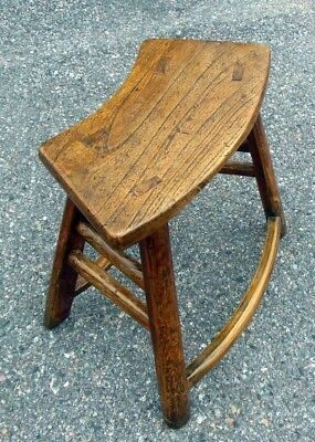 Antique Chinese Chestnut Bench Table Chair 18-19th C. Curved Seat