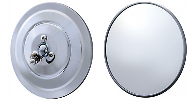 """Pair Chrome Ribbed 5"""" Side View Mirrors Head Chevy C10 Model A Ford Hinge"""