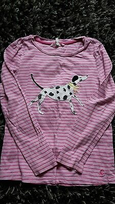 joules girls pink stripe dalmatian long sleeve top age 9-10 years