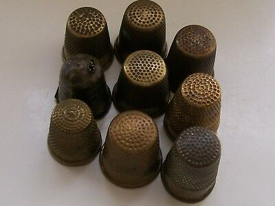 Nice Collection of 9 Vintage/ Antique Brass Thimbles