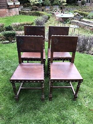 SET OF 4 FRENCH ANTIQUE DINING CHAIRS LEATHER, STUDDED & EMBOSSED 1890's *RARE