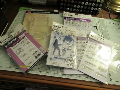 5 Packs Crafter's Companion Stamps+3 Viva Acrylic Blocks - 53 Stamps + Alphabet
