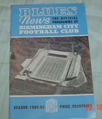 Birmingham City Asto Villa 1962-63 League Cup Final First Leg Programme